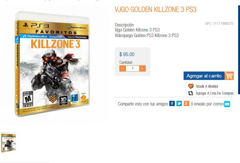 Chedraui (México Copilco): Killzone 3 en $95