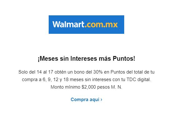 Walmart y Sam's Club en línea: Bono de 30% en puntos BBVA del total de la compra con tarjeta digital