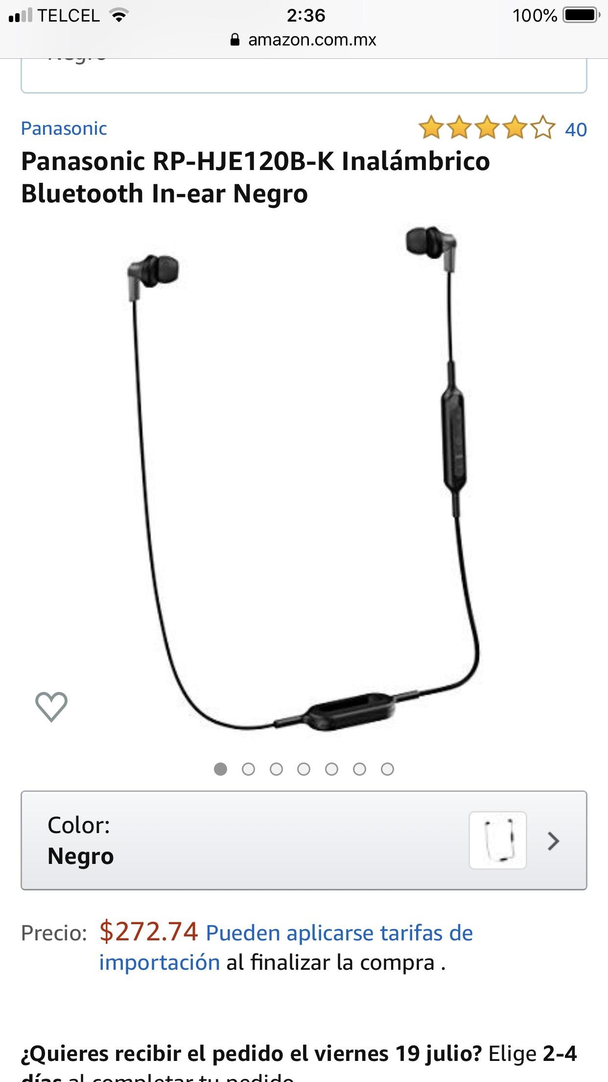Amazon: Bluetooth Panasonic audífonos