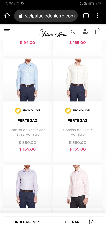 Palacio de Hierro: Camisas para Hombre DESDE $165 y excelentes marcas con más del 60% de descuento