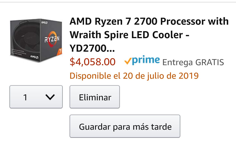 Amazon: Ryzen 7 2700 con Amazon Recargable.