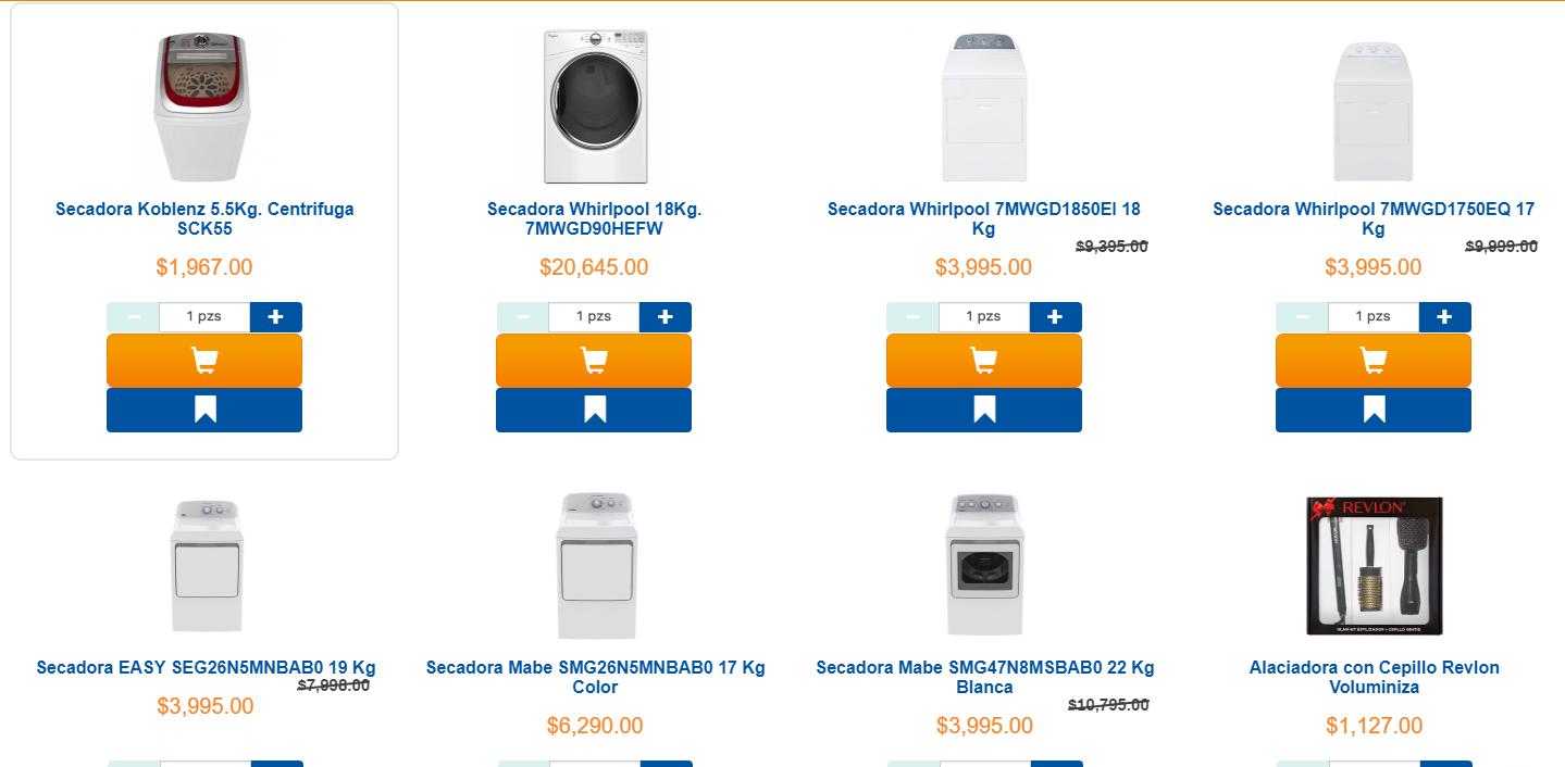 Chedraui en linea: Variedad de Secadoras $3995