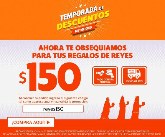 Netshoes: cupón de descuento de $150 (compra mínima $1,000)