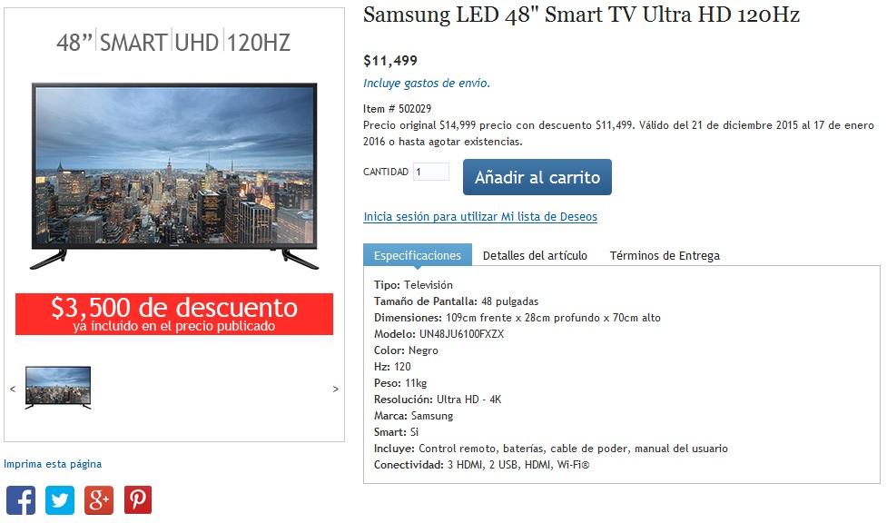 "Costco online: Pantalla LED Samsung 48"" Ultra HD, Smart TV 120 Hz"
