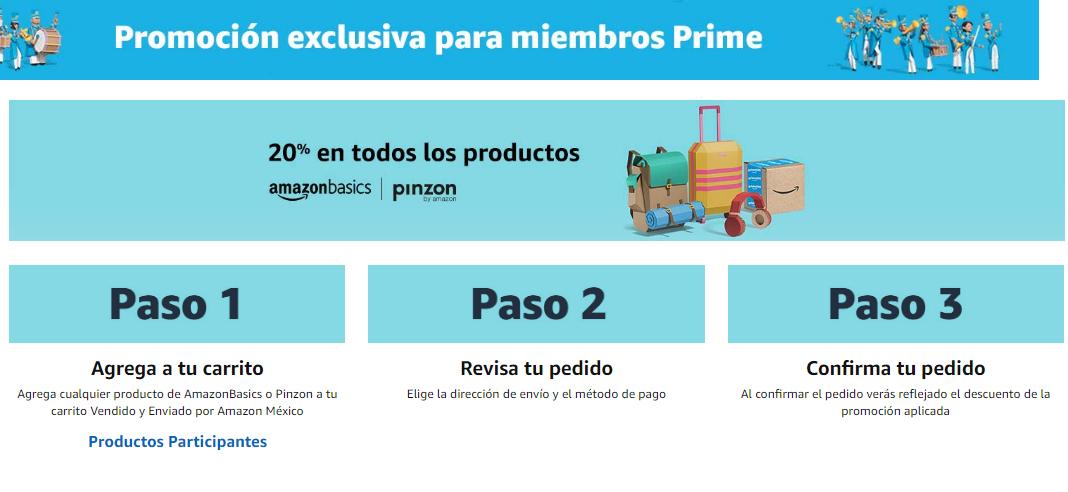 Amazon: 20% descuento en productos AmazonBasics o Pinzon