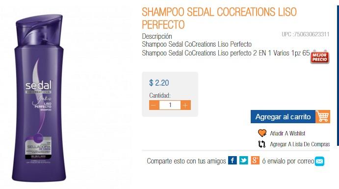 SHAMPOO SEDAL $2.20   Chedraui en línea.