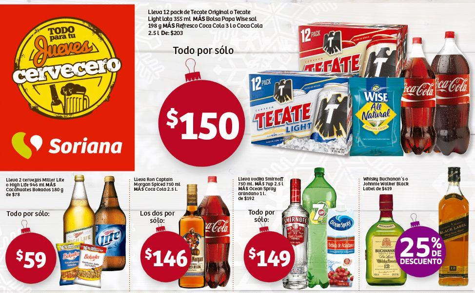 Soriana: Jueves Cervecero, Buchanan's o Etiqueta negra $619