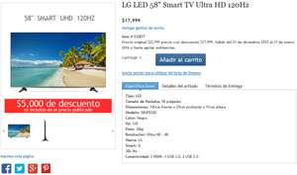 Costco online: Pantalla LG LED 58″ Smart TV Ultra HD $17,999