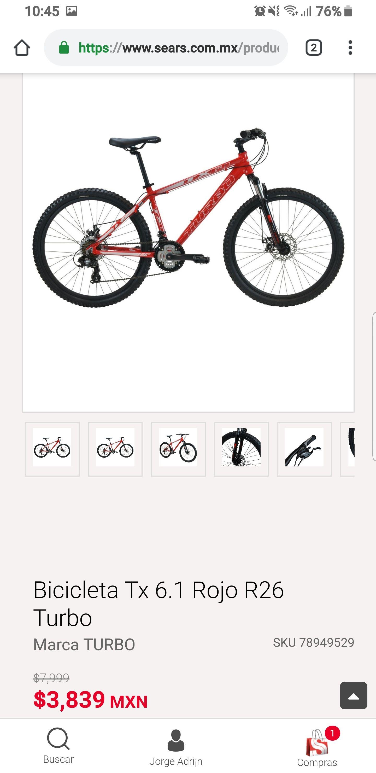 Bicicleta Turbo tx 6.1 rodada 26