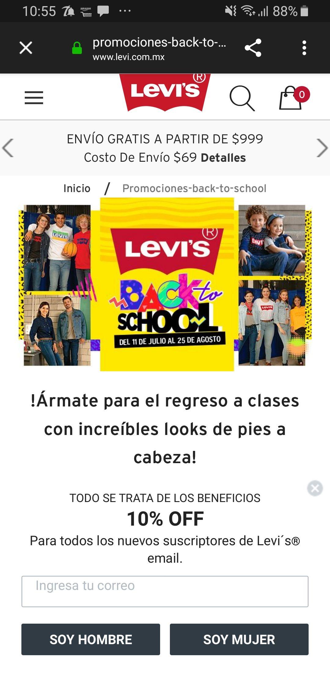 Levi's Back to School: 3x2 + 6 MSI o 35% de descuento en tiendas departamentales