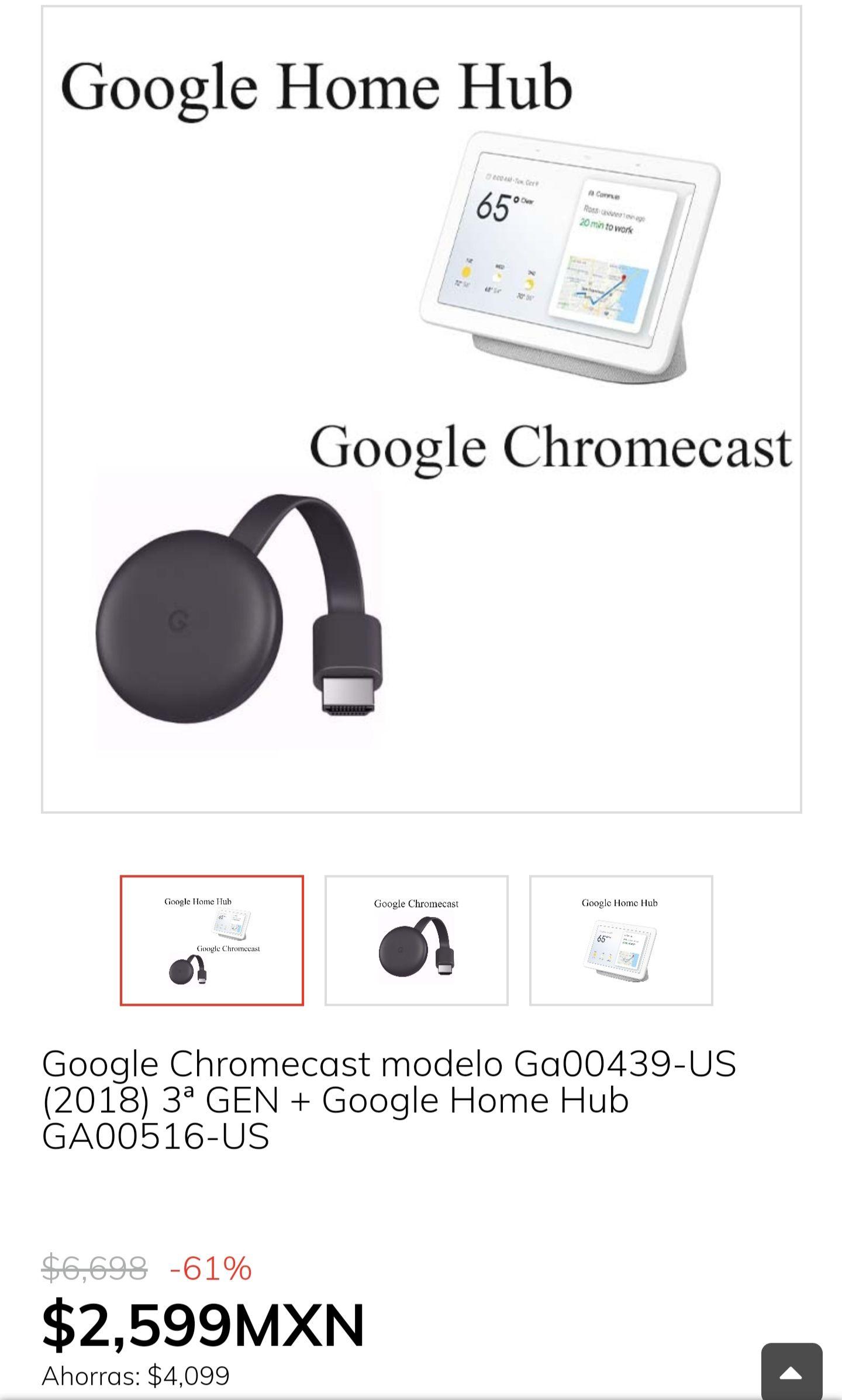 Claroshop: Chromecast 3ra generación + Google home hub en 2599