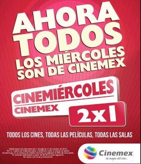 Cinemex: 2x1 sin restricciones los miércoles