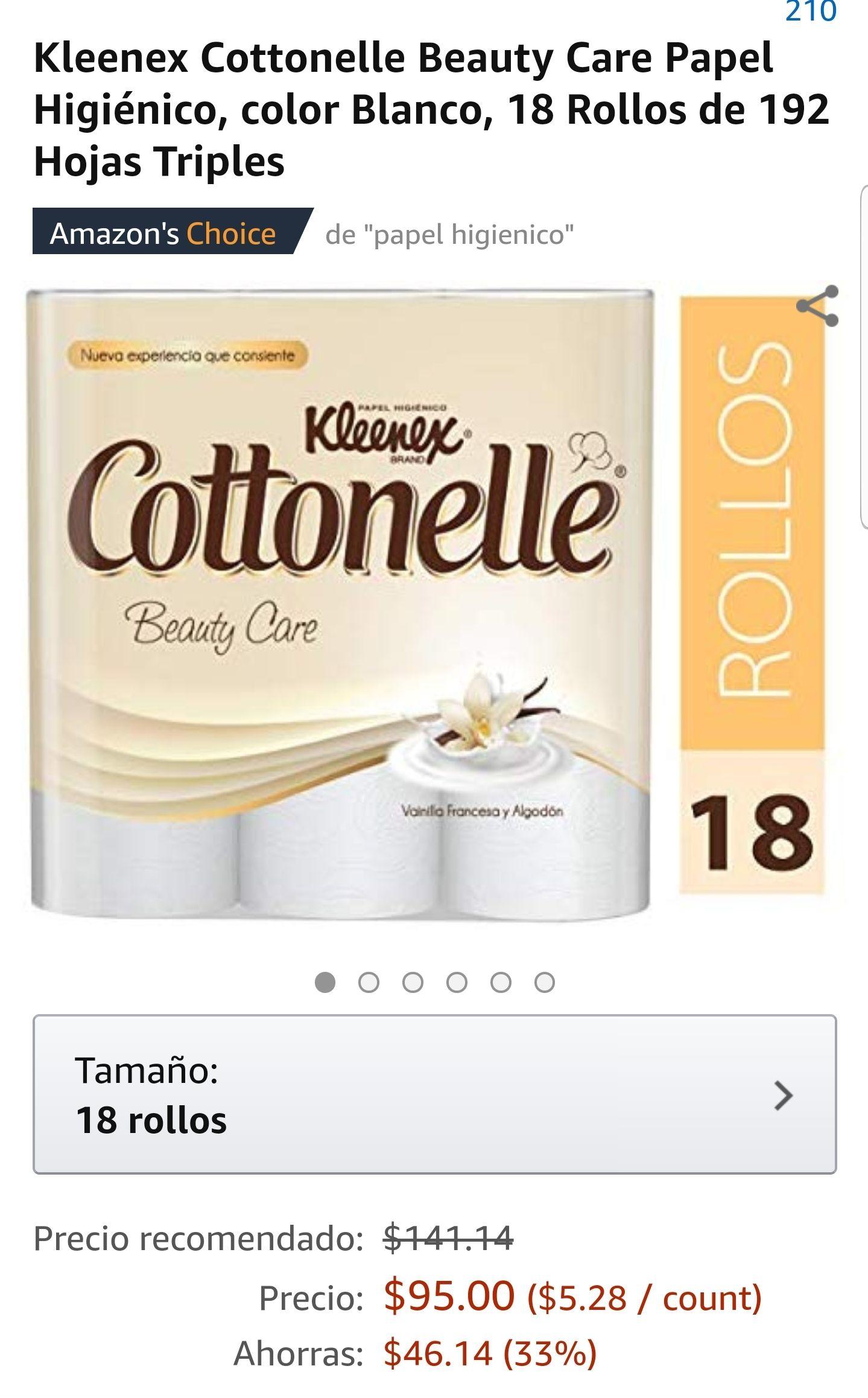 Amazon: Kleenex Cottonelle Beauty Care Papel Higiénico, color Blanco, 18 Rollos de 192 Hojas Triples