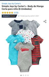 Amazon: Pañaleros Simple Joys by Carter's - Body de Manga Corta para niño (6 Unidades)