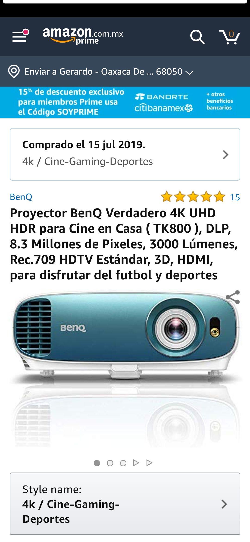 Amazon: Proyector 4K 3D Benq de $35,000 a $21,635.