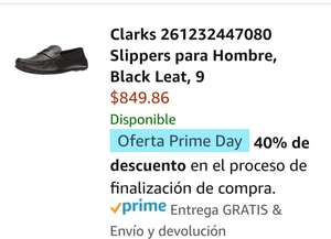 Amazon: Clarks 261232447070 Slippers para Hombre, Black Leat, 8