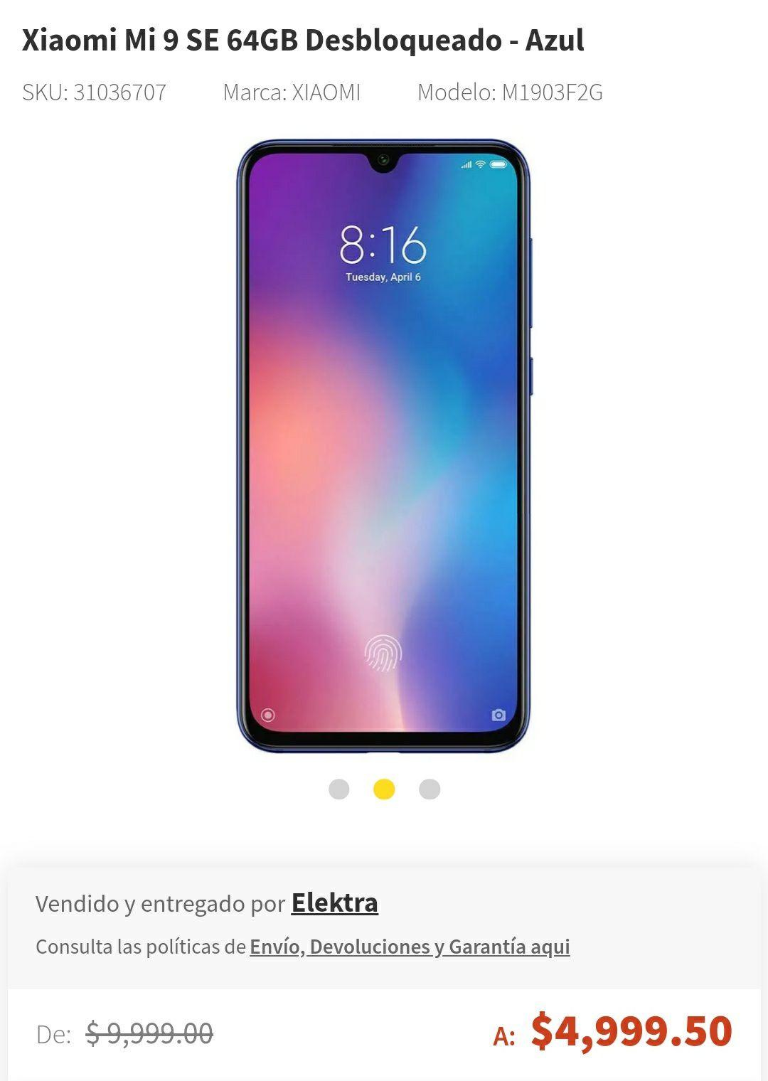 Elektra: Xiaomi MI 9 SE en 4599.50 pagando con PayPal
