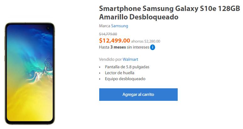 Walmart en línea: Samsung Galaxy S10e