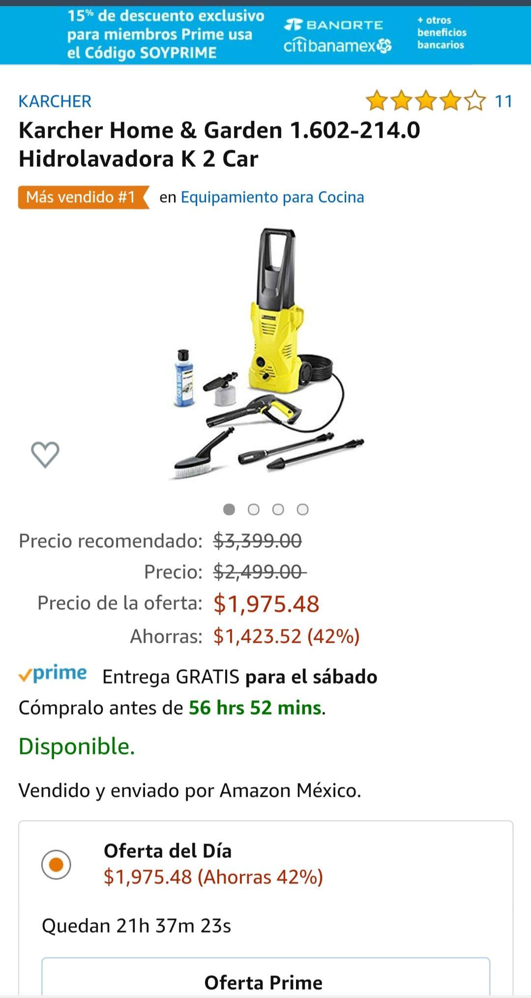 Amazon: Karcher Home & Garden 1.602-214.0 Hidrolavadora K 2 Car