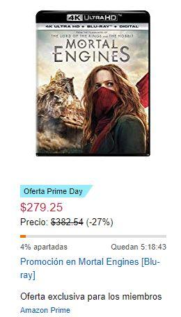 Amazon: Mortal Engines 4K $279.25 oferta relámpago