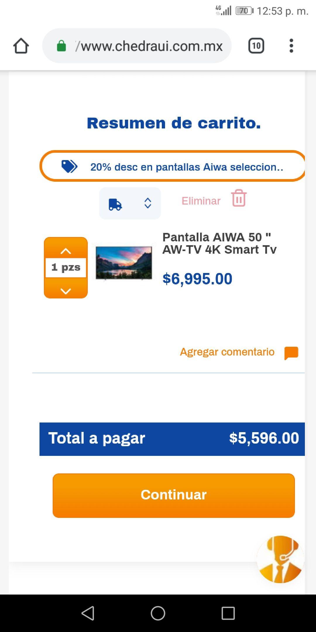 """Chedraui : pantalla AIWA 50"""" 4k smart"""