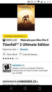 Microsoft Store: Titanfall 2 - Ultimate edition con Xbox Live Gold (a $158.75 sin Live Gold)