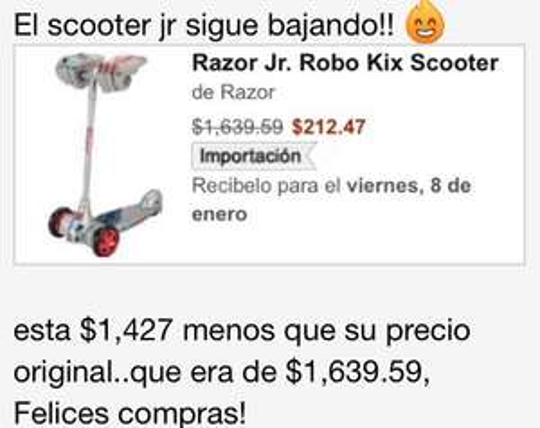Amazon: Razor Jr. Robo Kix Scooter $212 + envío (aprox $470)