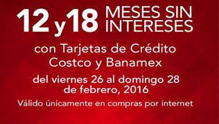 Costco: 12 y 18 msi con tarjetas de credito Costco y Banamex