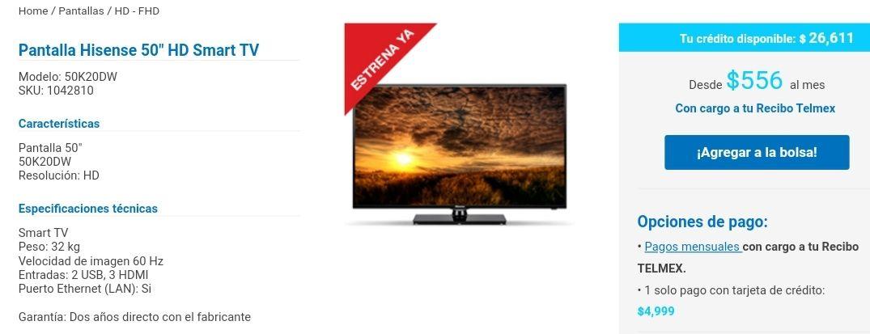 Telmex tienda en línea Smart TV Hiense 50 HD