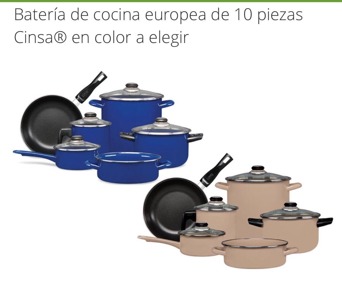 Groupon: Batería de cocina europea de 10 piezas Cinsa® en color a elegir