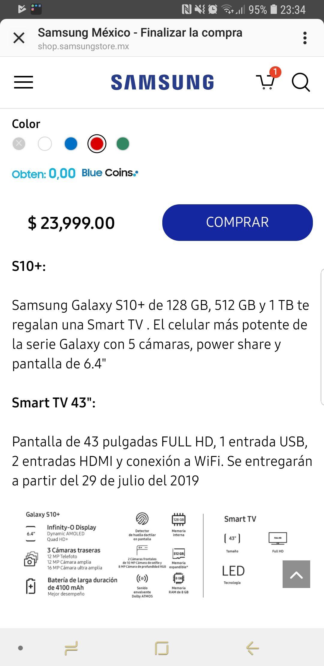 """Samsung Store: Samsung Galaxy S10 Plus más Smart TV 43"""""""