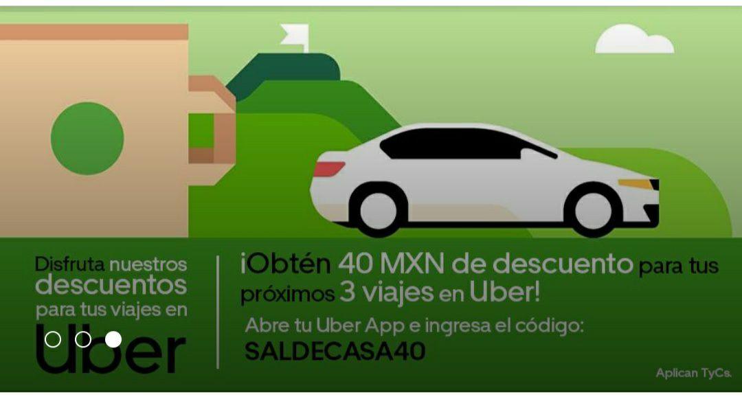 Uber: $40 de descuento en 3 viajes - Usuarios seleccionados