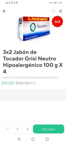 Rappi: Paquete de 4 jabones al 3x2 Grisi neutro CDMX SUMESA
