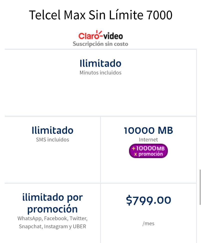 Portabilidad Plan Telcel 7000 de $799 a $399.