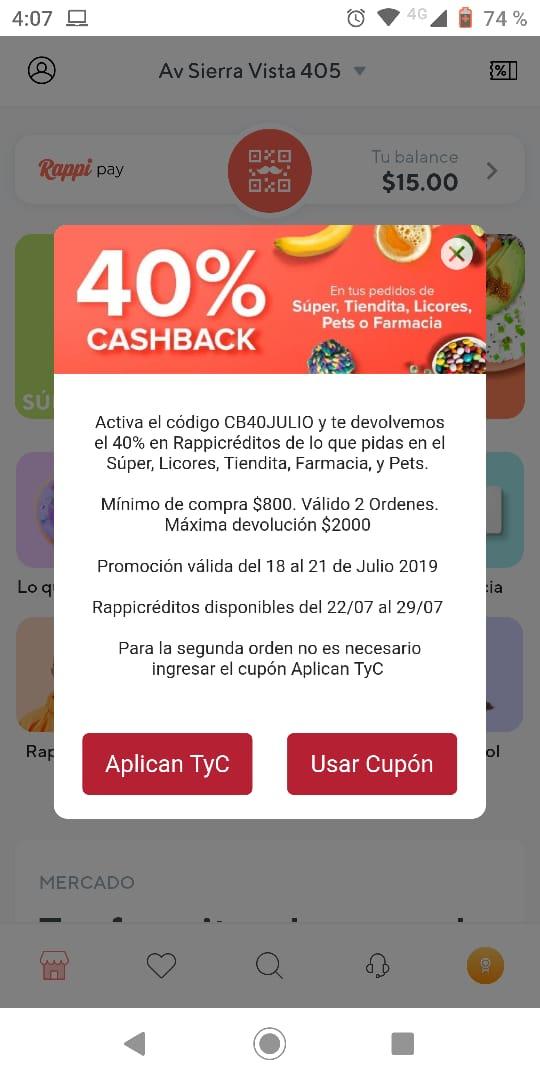 RAPPI 40% CASHBACK SUPER LICORES FARMACIA USUARIOS SELECCIONADOS