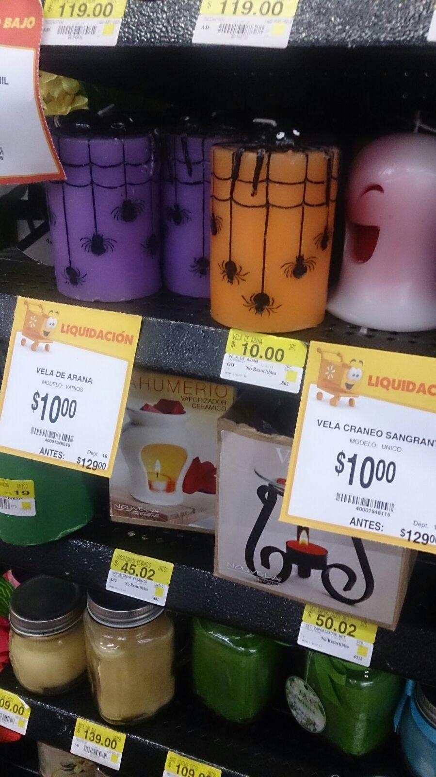 Walmart veladoras, portavelas $10.00 y maletas $545.03 en oferta.