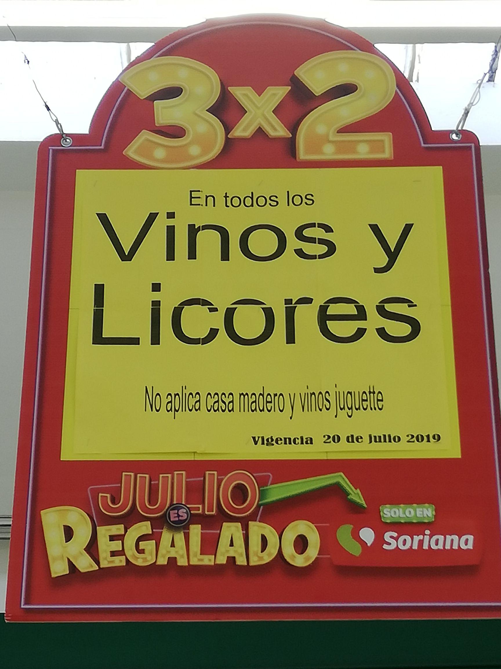 Soriana Super:  3x2 en Vinos y Licores 20 de Julio