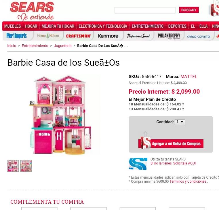 SEARS EN LINEA. Barbie Casa de los Sueños. 2,099.00