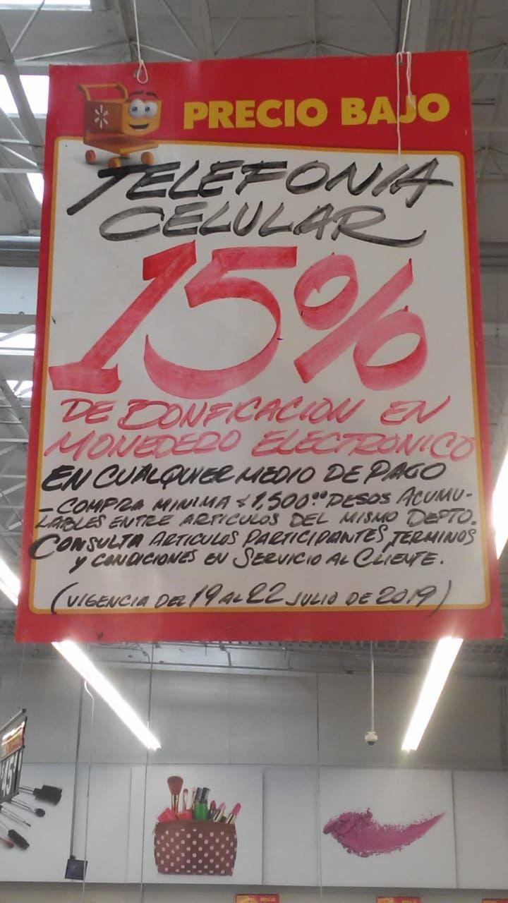 Walmart: Departamento de telefonía 15% reembolso en Monedero Electrónico (tienda física)