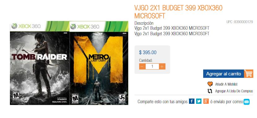 Chedraui (México Copilco): Xbox 360 (2 juegos). Tomb Raider y Metro: Last Light