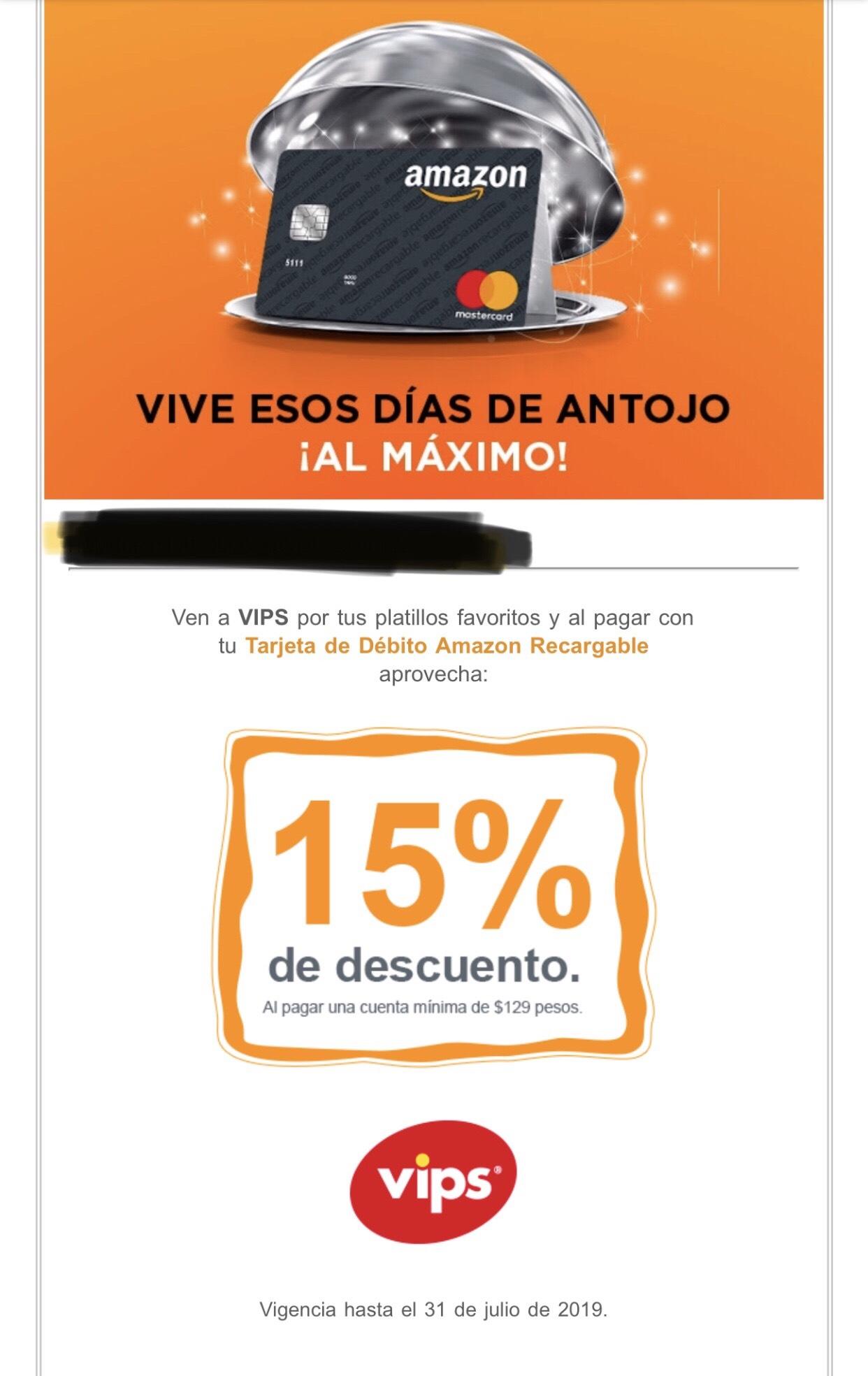 15% en VIPS con Amazon Recargable