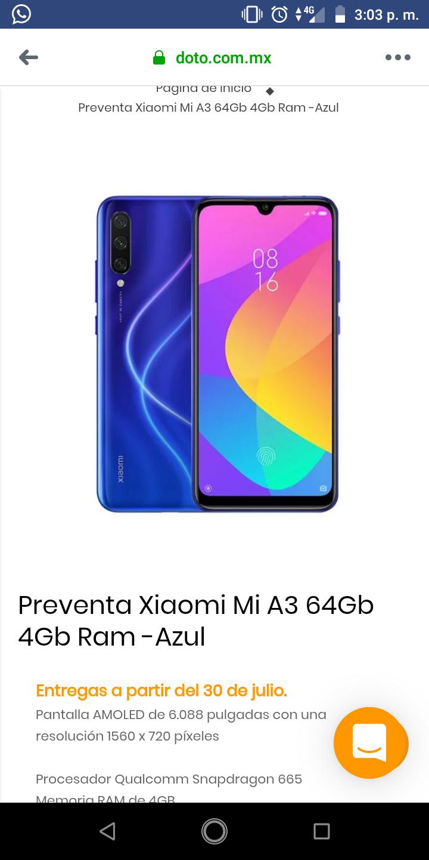 Doto: Preventa Xiaomi Mi A3 4/64 GB