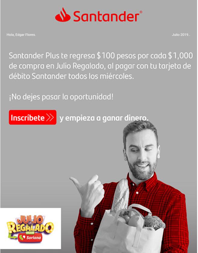 Santander 100 pesos x cada 1000 en Julio Regalado
