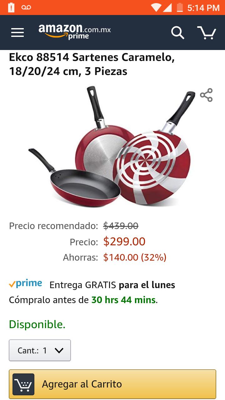 Amazon: Juego de Sartenes Ecko 18/20/24