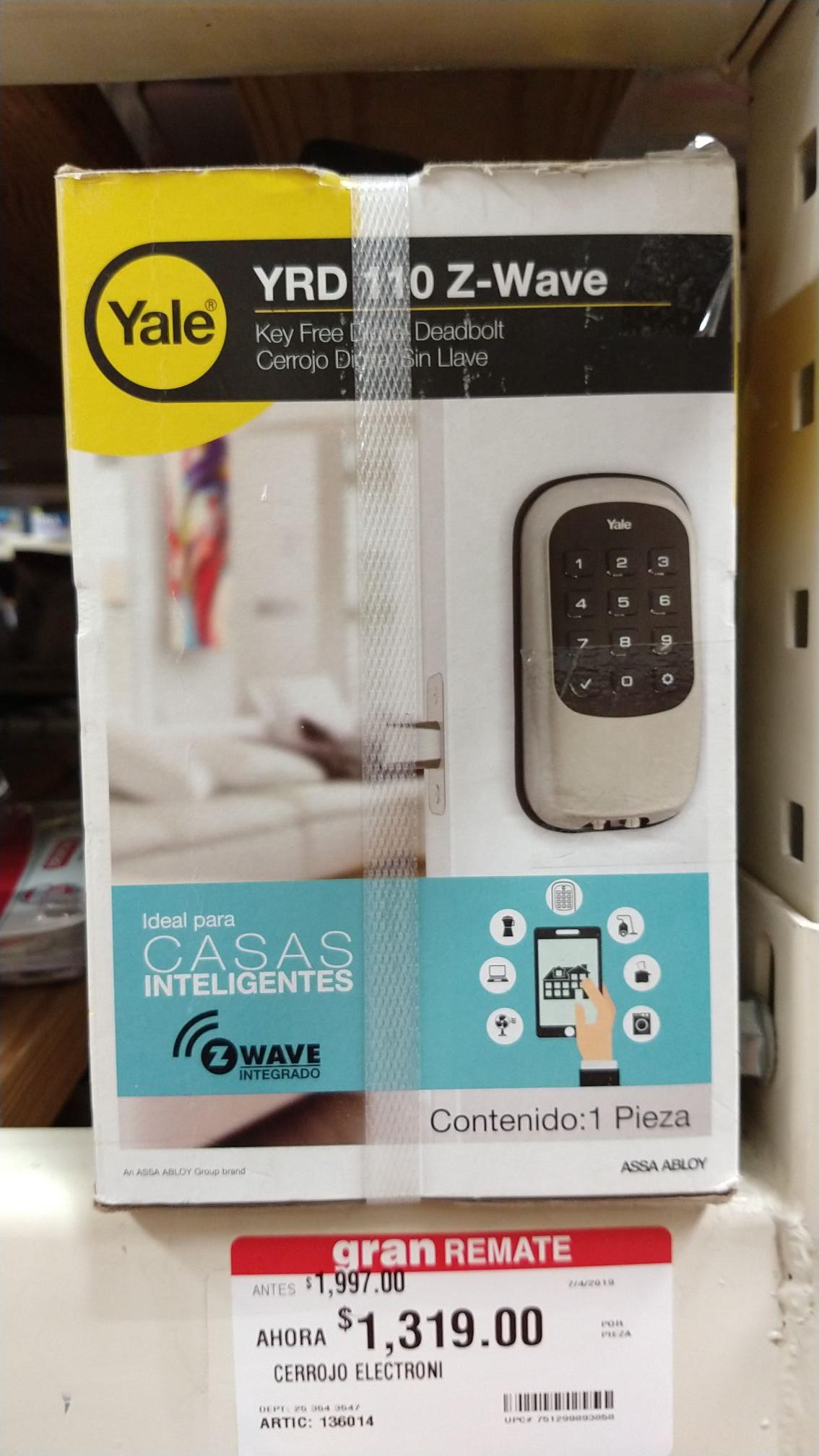 Home Depot/GDL, Cerradura digital Yale, con Z Wave compatible con Google Home, Amazon Alexa, Samsung smarthings