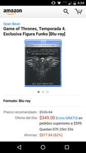Amazon MX: Game of Thrones T4 con Figura Funko [Blu-ray]