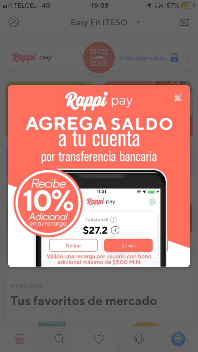 Rappi: Obtén 10% adicional a lo depositado a Rappipay (limitado a $500, un solo uso)