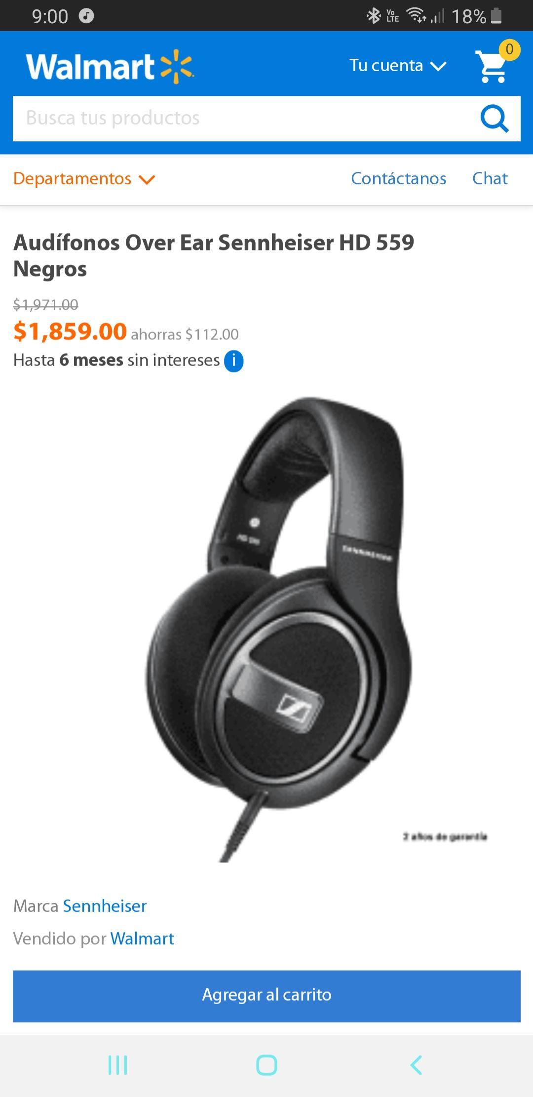 Walmart en línea: Seinheiser hd 599 $1859