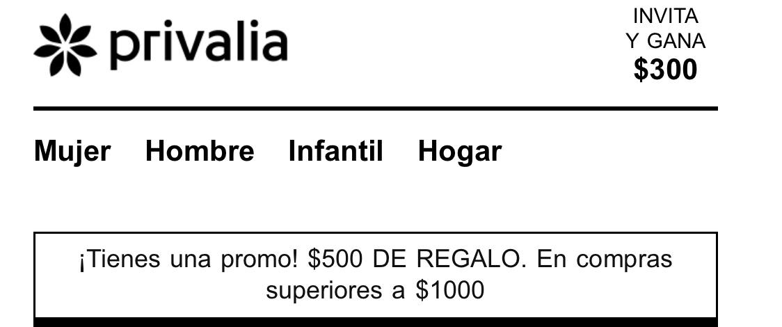 Privalia: 500 de descuento compra mínima 1,000 o 300 de descuento en compras mayores de 700 (primera compra).