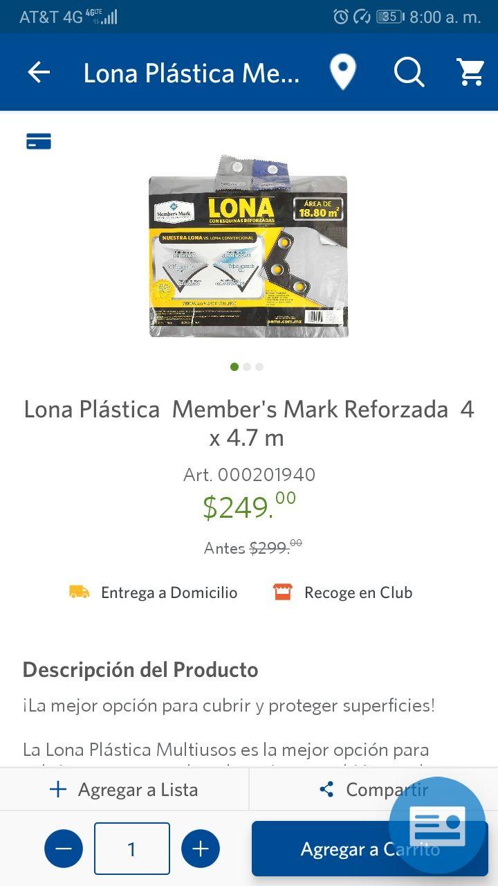 Sam's Club Lona reforzada 18.8 m2